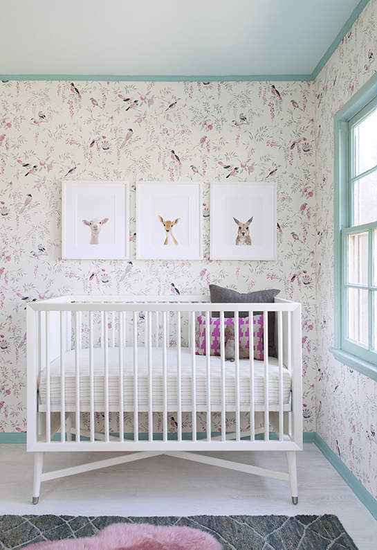 The animals!  The wallpaper! The aqua trim!  This is one of my favorite baby girl nurseries ever.