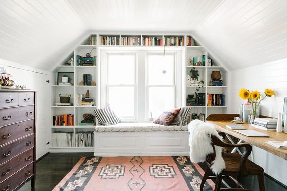 This bohemian office is awesome.  A great place to get creative and get some work done!  Image via  Refinery29