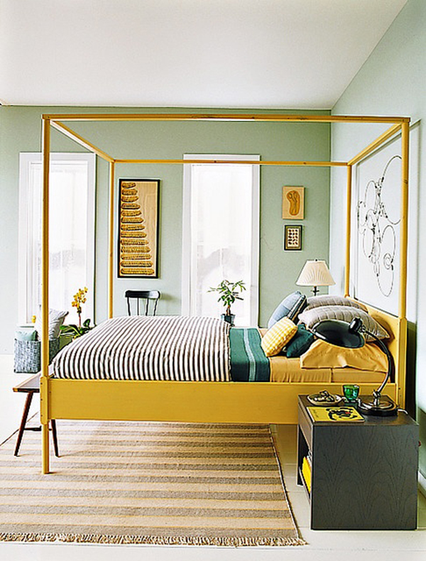 This bed is stunning and gives a major pop of color.  And I love the pairing with the mint and emerald green. Very unexpected!   Image via  Amber Interiors