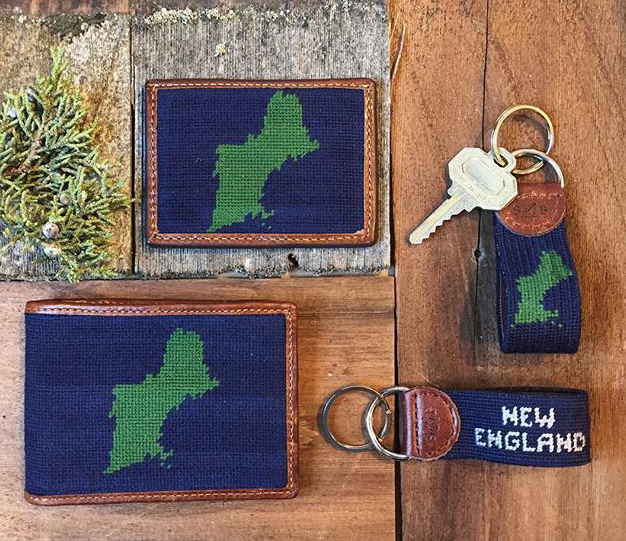 I'm totally into these needlepoint wallets and key fobs from Sault for any preppy dudes in your life.