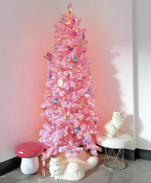 I can't even get over how kooky this tree is.  I'm also a sucker for anything with a fluffy white cat since it reminds me of our late Daisy cat (may she rest in peace.) Image via Domino and Little Arrow Shop
