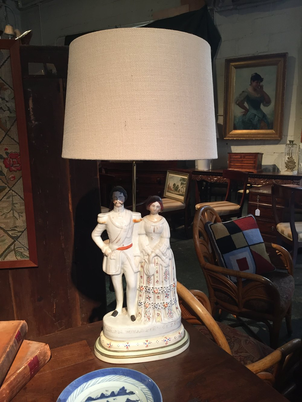 They have a pair of these Staffordshire lamps which I think would be fun in a more eclectic room.
