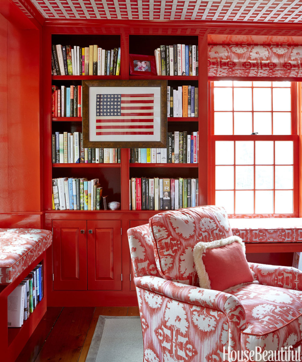 This Connecticut country house library is the definition of bold.  And if you don't like it, you can go home.  Kidding aside, I would love to have a client as adventurous as this with color.  Image via  House Beautiful