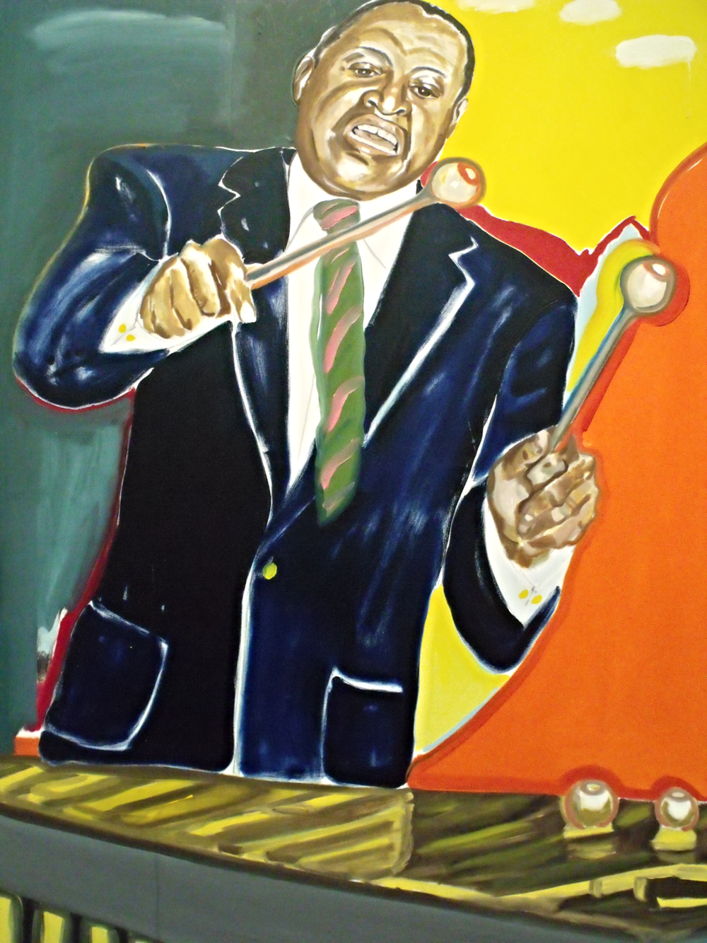 """This enormous portrait of Lionel Hampton by Frederick J. Brown is 96 & 1/8"""" tall. That's over 8 feet!  Lionel Hampton began his musical career as a drummer until Louis Armstrong encouraged him to take up the vibraphone in the early 1930s. Hampton introduced that instrument to the jazz idiom. Hampton's high-energy spontaneity was legendary: """"We got no routine,"""" he once said. """"We just act the way the spirit moves us."""""""