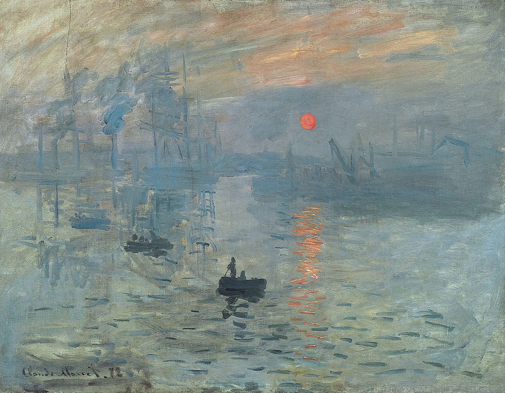 "Impression, Sunrise by Claude Monet  1872. The Impressionist got their name from this painting. When it was first exhibited in 1874 a newspaper critic mocked the painting: ""Impression—I was certain of it. I was just telling myself that, since I was impressed, there had to be some impression in it ... and what freedom, what ease of workmanship! Wallpaper in its embryonic state is more finished than that seascape."" Following this infamous rant the public came to call this group of young painters ""impressionists"" and they accepted the label."