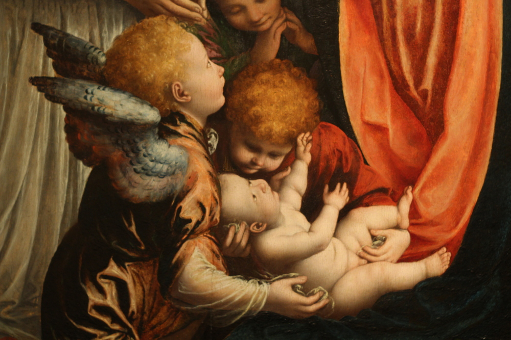 Detail from Domenico Puligo's 'The Virgin and Child in Majesty with Saints Quentin and Placidus,'1521-22.