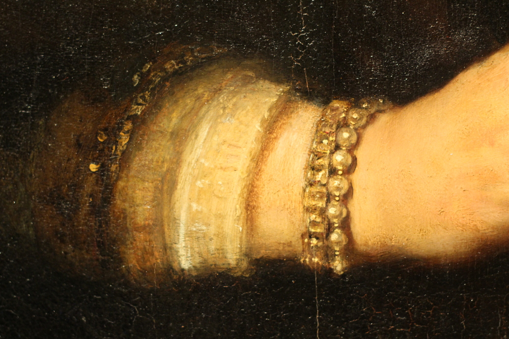 Detail from 'Portrait of a Woman' attributed to one of Rembrandt's apprentices.