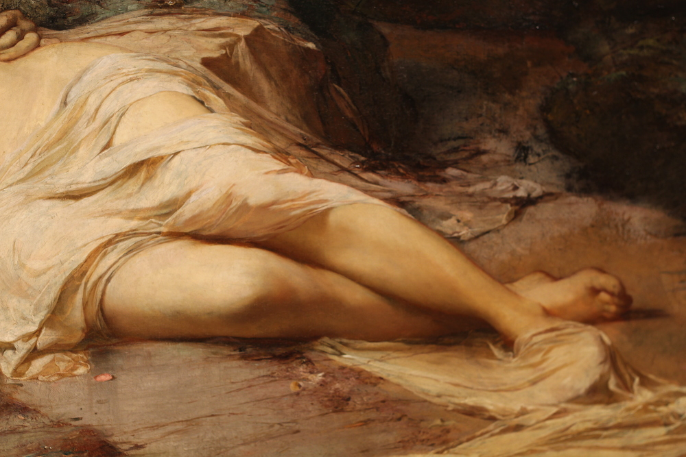 Detail of dead woman's legsfrom Carl Marr's '  Mystery of Life,' 1879.