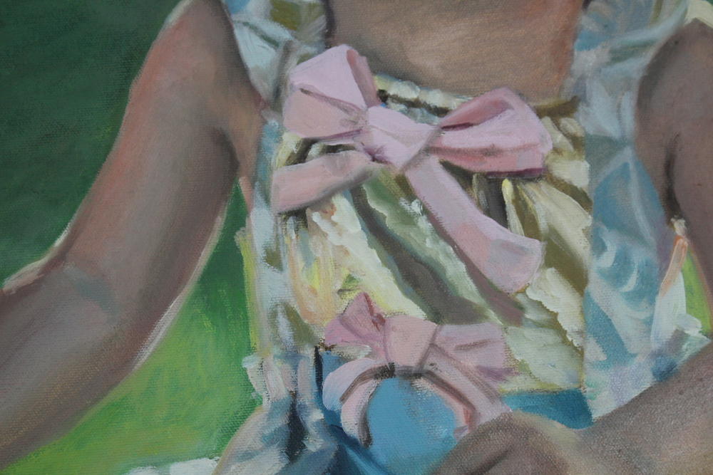 Who wouldn't want their portrait painted in a dress made out of their neighbor's 1960's curtains and gold lame with giant pink bows.