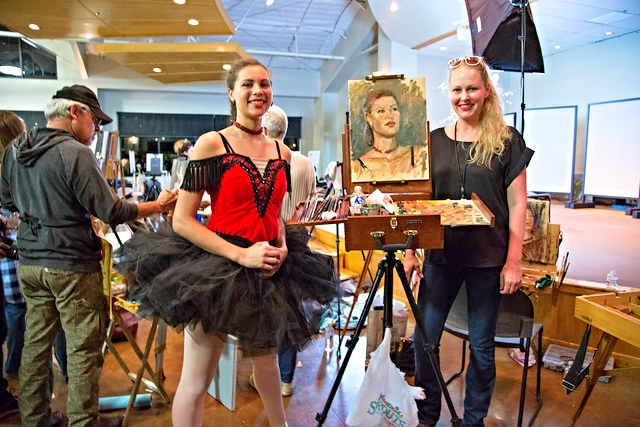 With my ballerina during the face-off alla prima portrait painting event. Photo credit: Debbie Slangal