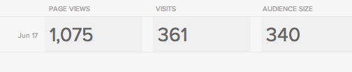 Squarespace's stats for the site.