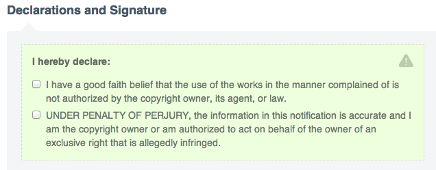 Part of Vimeo's DMCA Claim Form