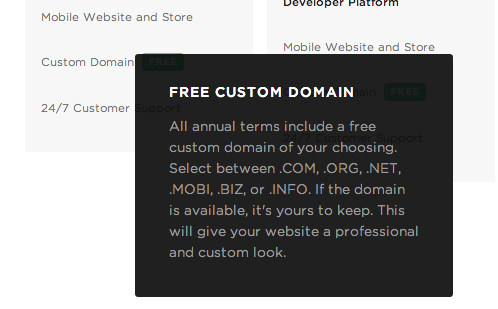The details about Squarespace's free domain
