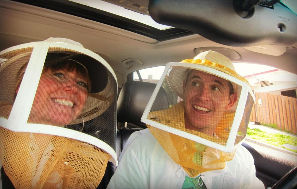 Bee Girl and Brian in search of the swarm in Oakland