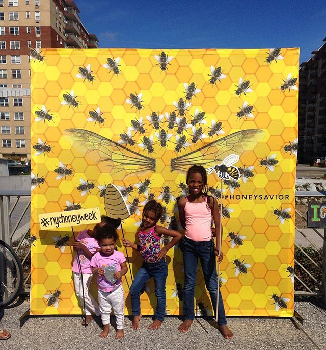 We out here! These #honeybeesaviors are enjoying a bee-autiful day at the beach. Don't be a drone, buzz on by! (Here till 5pm, Rockaway Beach - 86th) #nychoneyweek