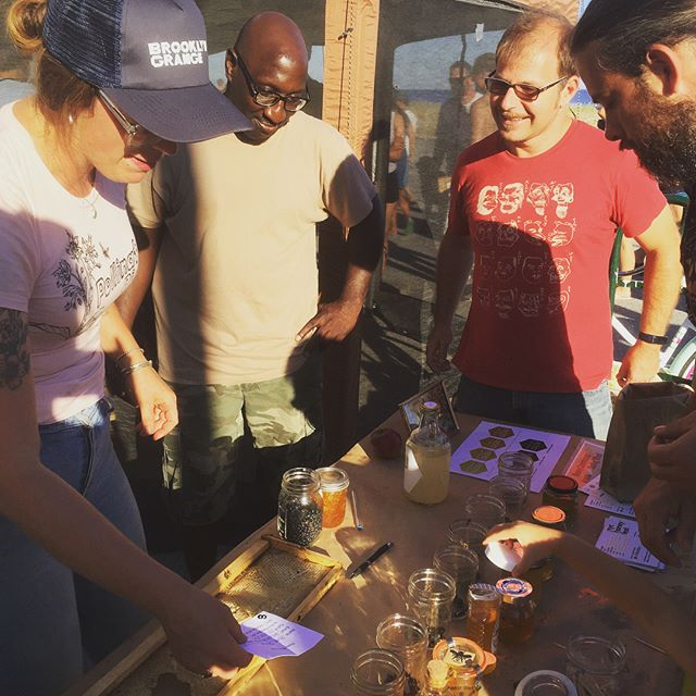 Congratulations to winners of this year's honey tasting competition! 🍯🏆🍯We had over a dozen entries from local NYC beekeepers, but these were the crowd favorites. 🥇First place is beekeeper Oliver Buhler (Brooklyn), who received a hive from @bmbeefarm. 🥈Second place is @mizzbeehavinapiary, who took home some goodies from @bigalicebrewing. 🥉Third is @coverthoney, who received beekeeping gear from @mannlakeltd! Thank you to everyone who entered and thank you to our sponsors! 🐝💛 #nychoneyfest