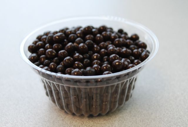 Dark chocolate crunch pearls made by Valrhona deliver a satisfying crunch