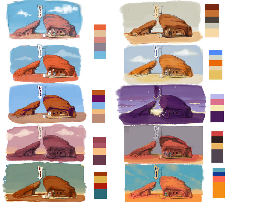 Early station design thumbnails by Derek Edgell, color studies by Lysandra Nelson.