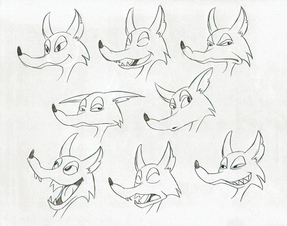Coyote expression sheet by Tom Bertino.