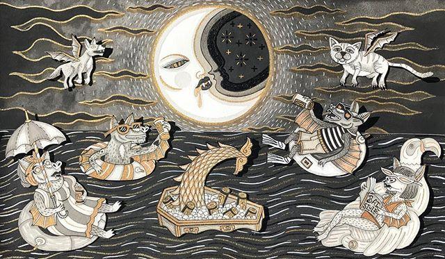 Bat night float under a Vampire moon. 🦇🌙 #coppertailbrewing #craftbeerart #gothicart #bat #vampire #pdxart