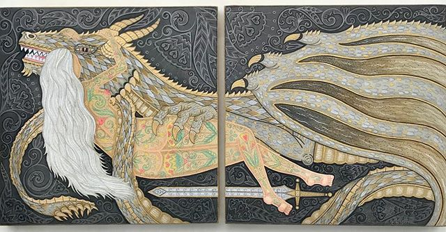 Mother of Dragons 🐉 you gotta get in there for the details. This piece is available @spoke_art for the Game of Thrones group show. #gameofthrones #motherofdragons #spokeart #pdxart
