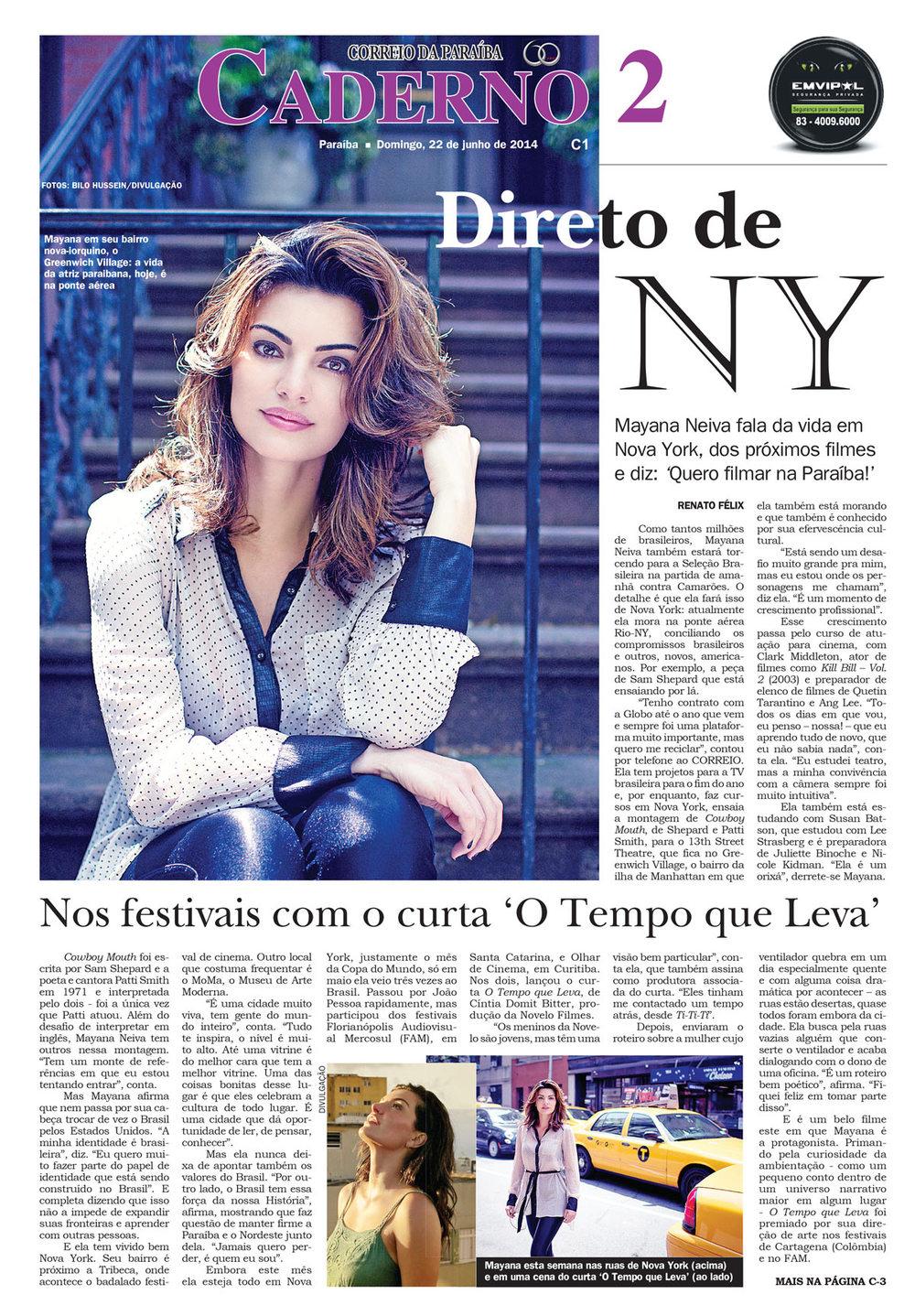 Portrait of Brazilian actress Manya Neiva in Correio Da Paraiba