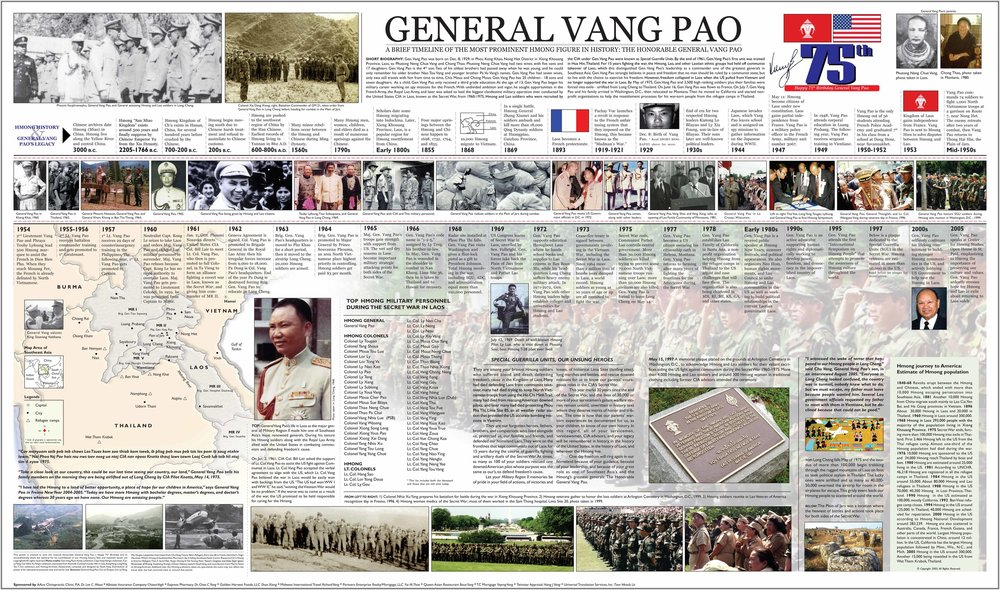 "In 2006, I created this ""General Vang Pao"" poster as a gift to honor his contribution to our history and people at Prom Center in Oakdale, Minn. Courtesy Noah Vang. Below images of Vang Pao were taken in Padong, Laos, in 1961-62 (from Times Magazine)."