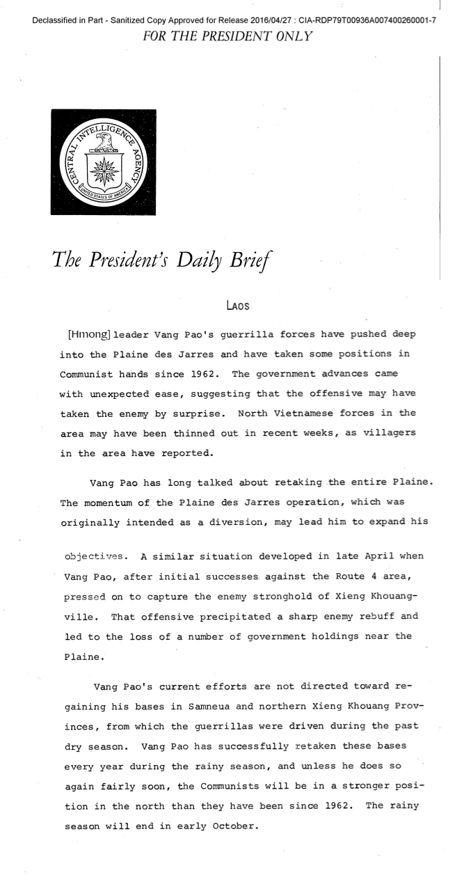Source: THE PRESIDENT'S DAILY BRIEF 30 AUGUST 1969 / CIA.GOV