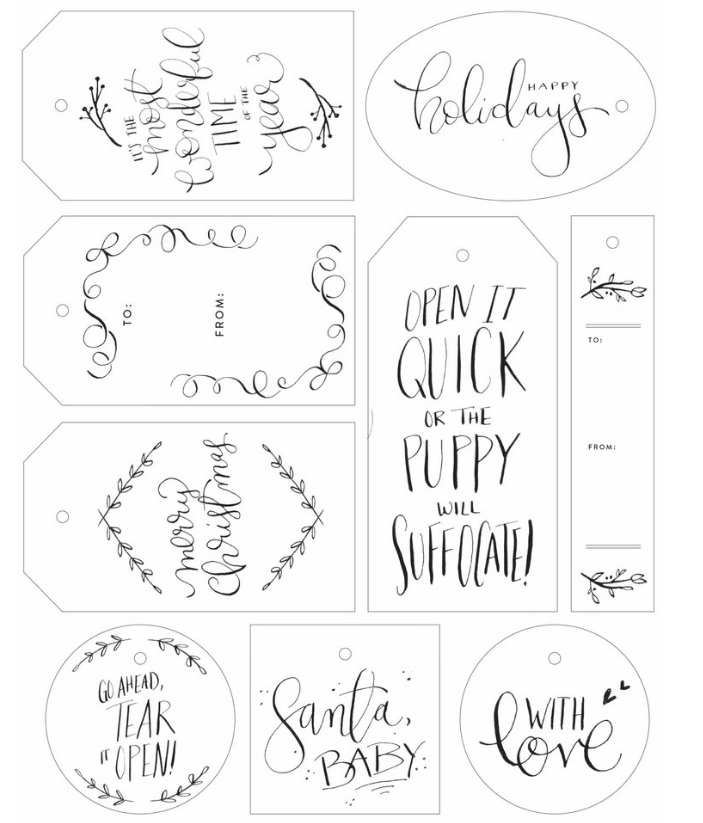 Naughty + Nice // 30 FREE Hand-Lettered Holiday Gift Tag ...