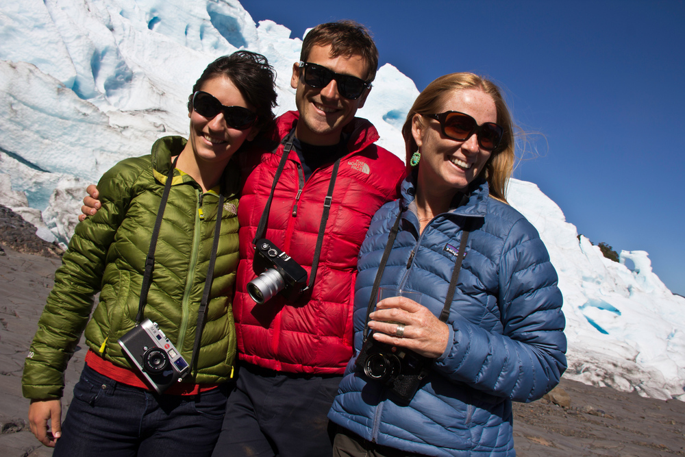 Puff jackets and Leicas, Melimoyu glacier, Melimoyu wilderness lodge, Patagonia Sur, Chile, South America
