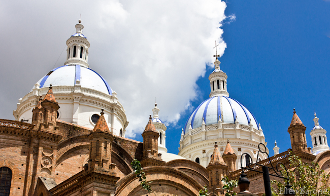 The blue domes of the New Cathedral in Cuenca. ©Ellen Barone.