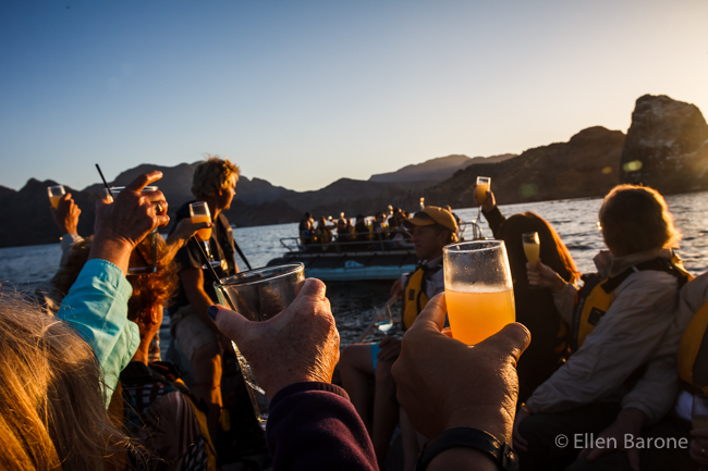 A sunset toast aboard the skiff, Sea of Cortés