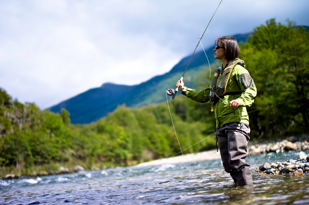 Fly fishing, Rio Tigre, Valle California, Patagonia Sur, Chile, South America