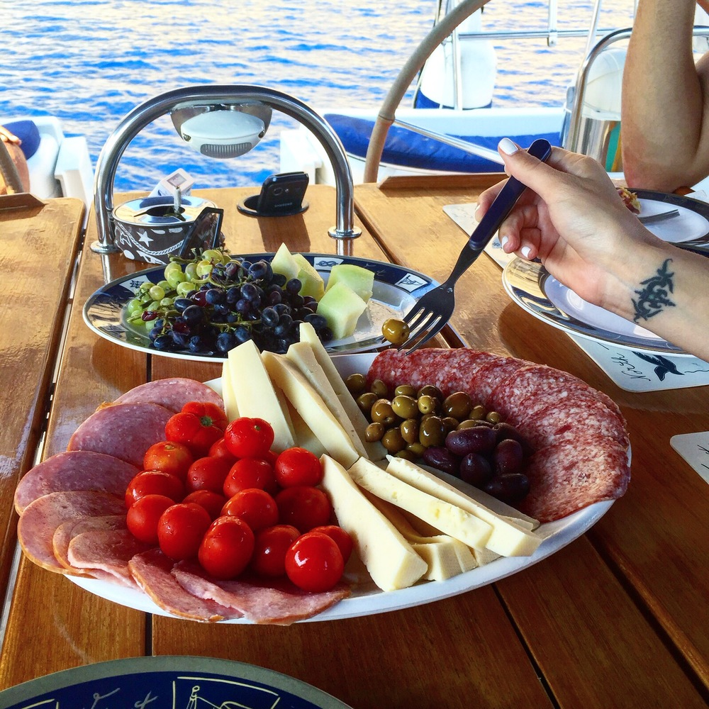 Dining on a boat