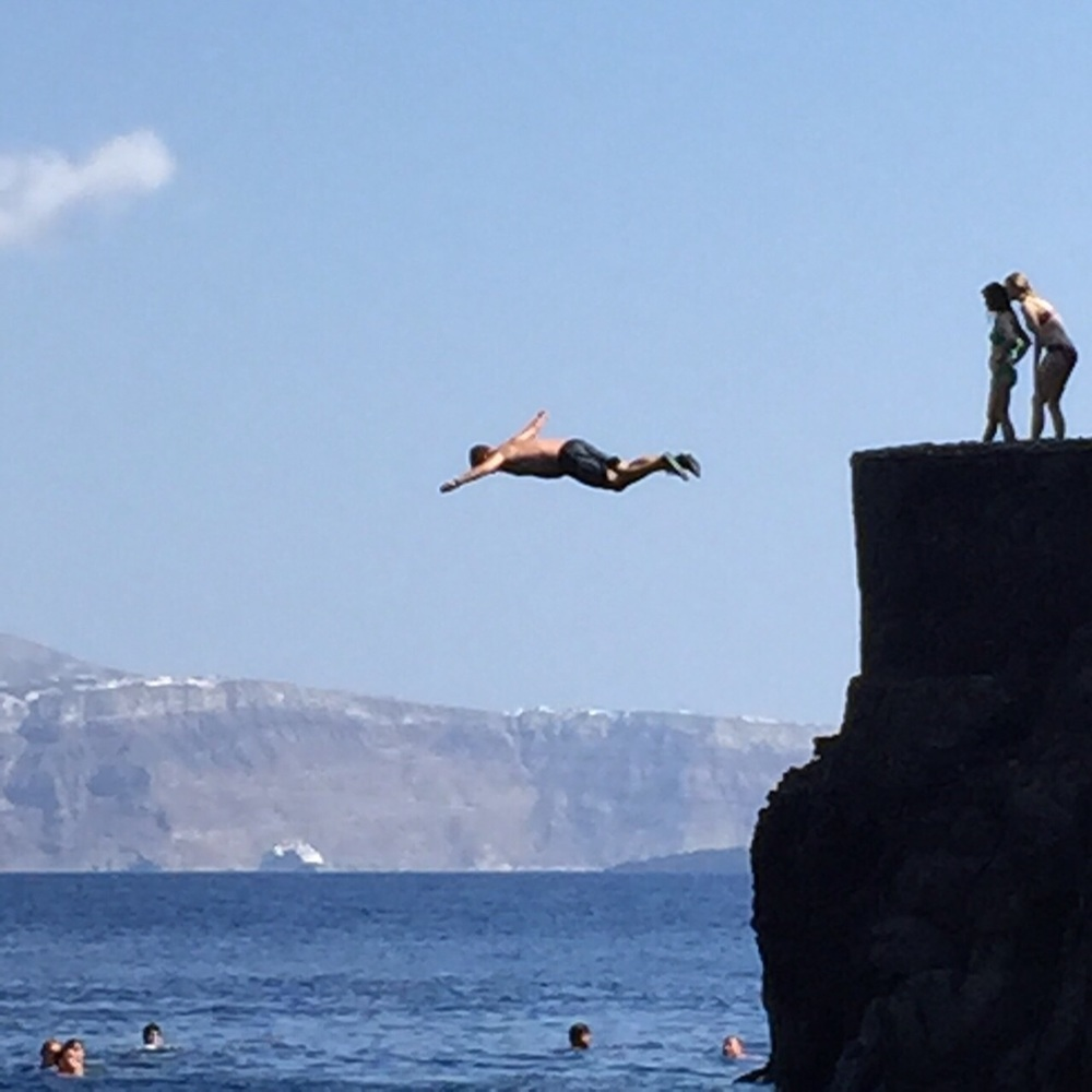 Jay is so brave- Cliff diving in Oia, Santorini