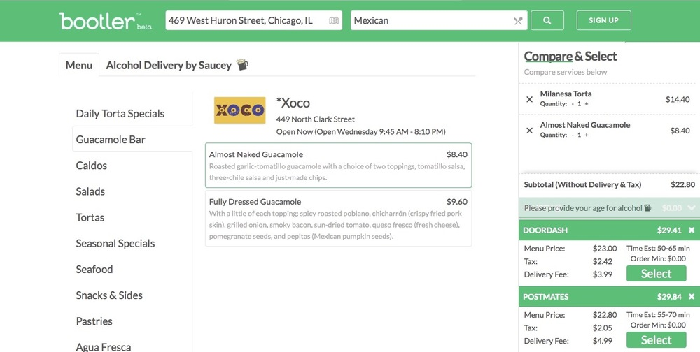 So easy to compare delivery services in one screen.