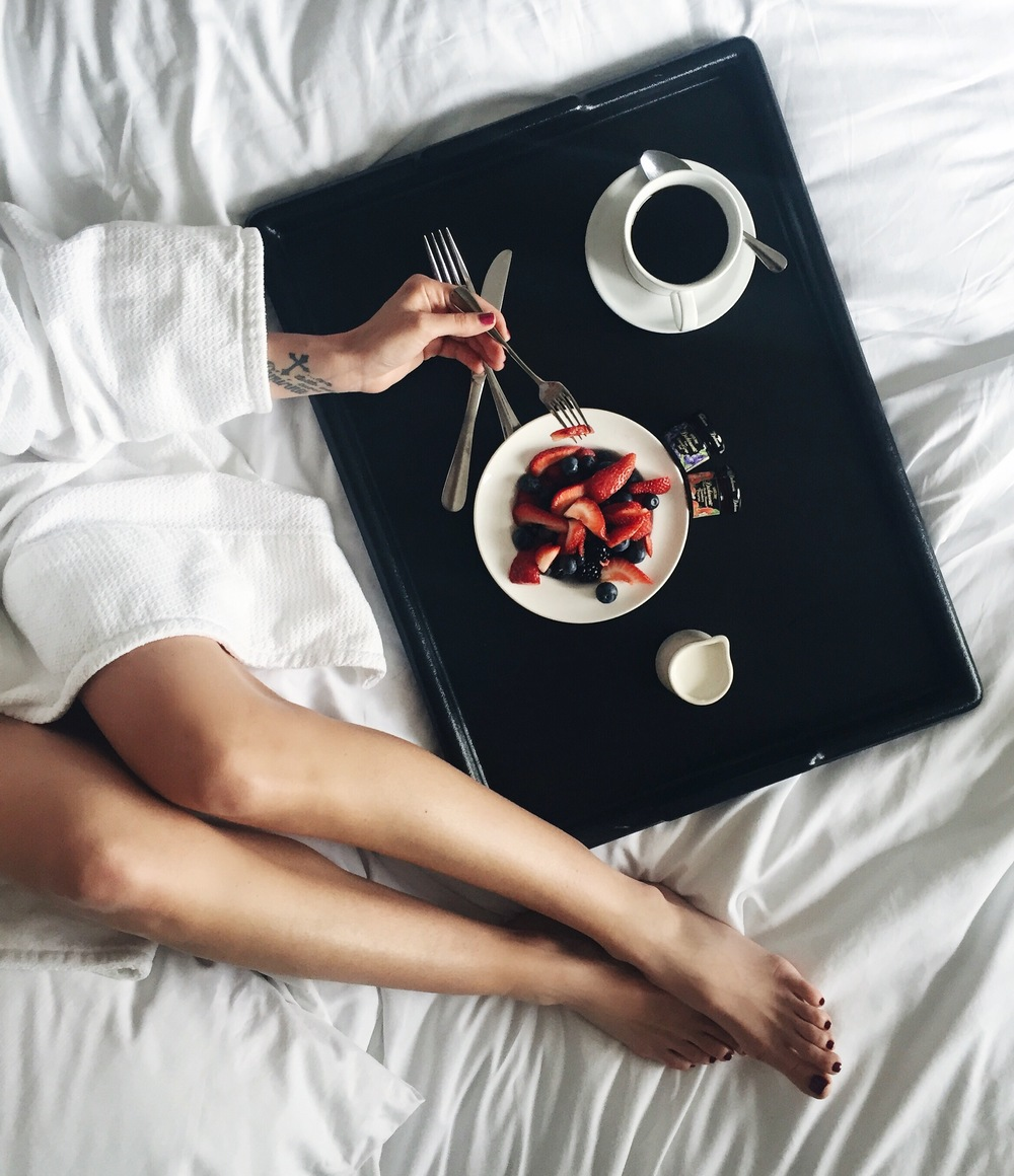 Sexy breakfast in their lush bed in their lush robe