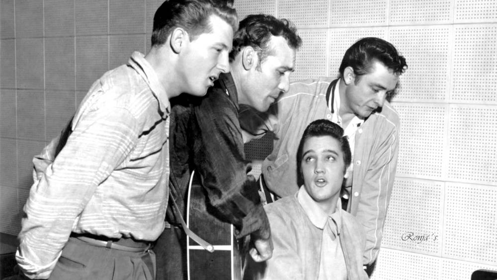 Million Dollar Quartet- Left to Right- Jerry Lee Lewis, Carl Perkins, Elvis Presley, Johnny Cash