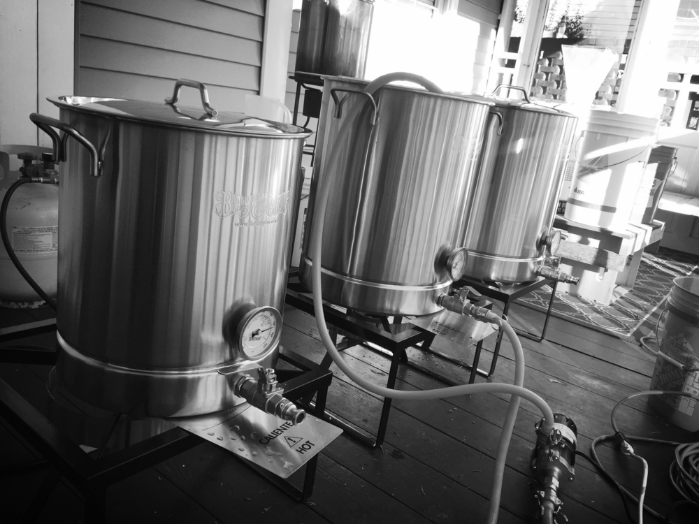 Shown in picture 10 gallon direct fire brewhouse. Second system used as home brewer.