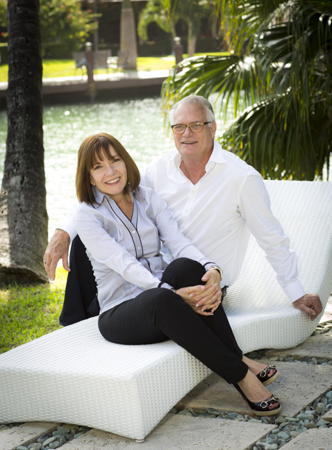 Phyllis & Bill in their backyard - Miami Beach, Florida