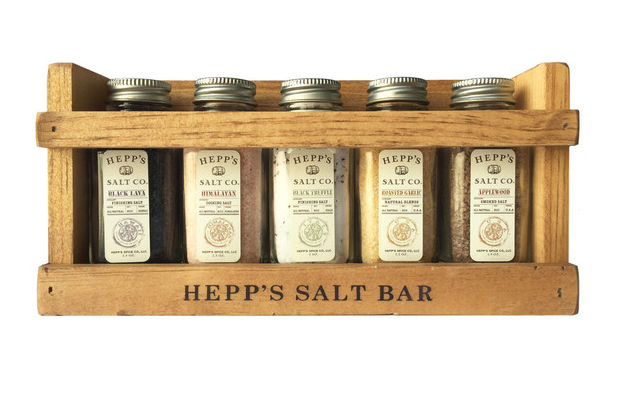 Chef's Collection Gift Set from Hepp's Salt. Collection includes: 2oz. glass jars of Hickory Smoked Sea Salt, Black Truffle Sea Salt, Himalayan Pink Sea Salt, Garlic Sea Salt, Black Lava Sea Salt