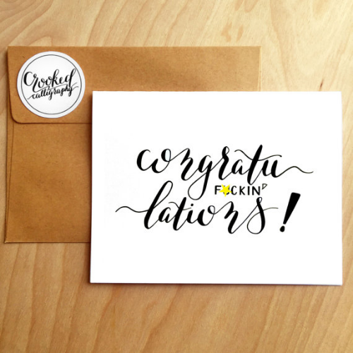 Congratulations card from Crooked Calligraphy