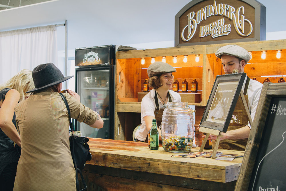 We're excited to have Bundaberg back this summer with their delicious ginger beer and drinks. Keep your eyes peeled for their sweet wooden bar and mosey on up for a taste!