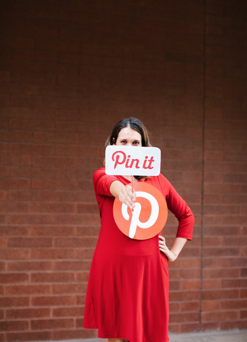 Pinterest - What you'll need: Plain red dress, Pinterest logo print out,  Pin it logo print-out and a hot glue gun.