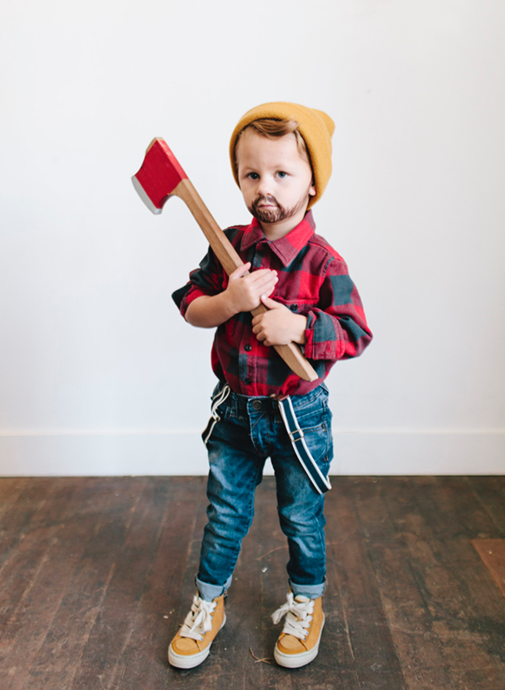 Lumberjack - What you'll need: Red Flannel, beanie, jeans, suspenders and a toy hatchet.