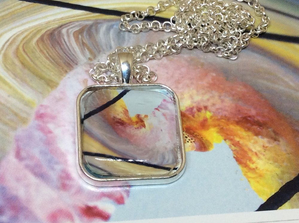 Creation necklace and pendant. Original is a 1,6 x 1,4metre canvas painting.