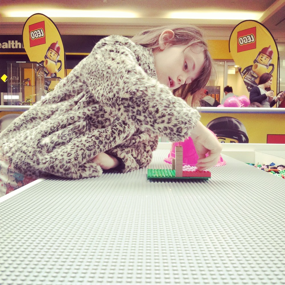My daughter getting creative with LEGO® (Eastland Shopping Centre)