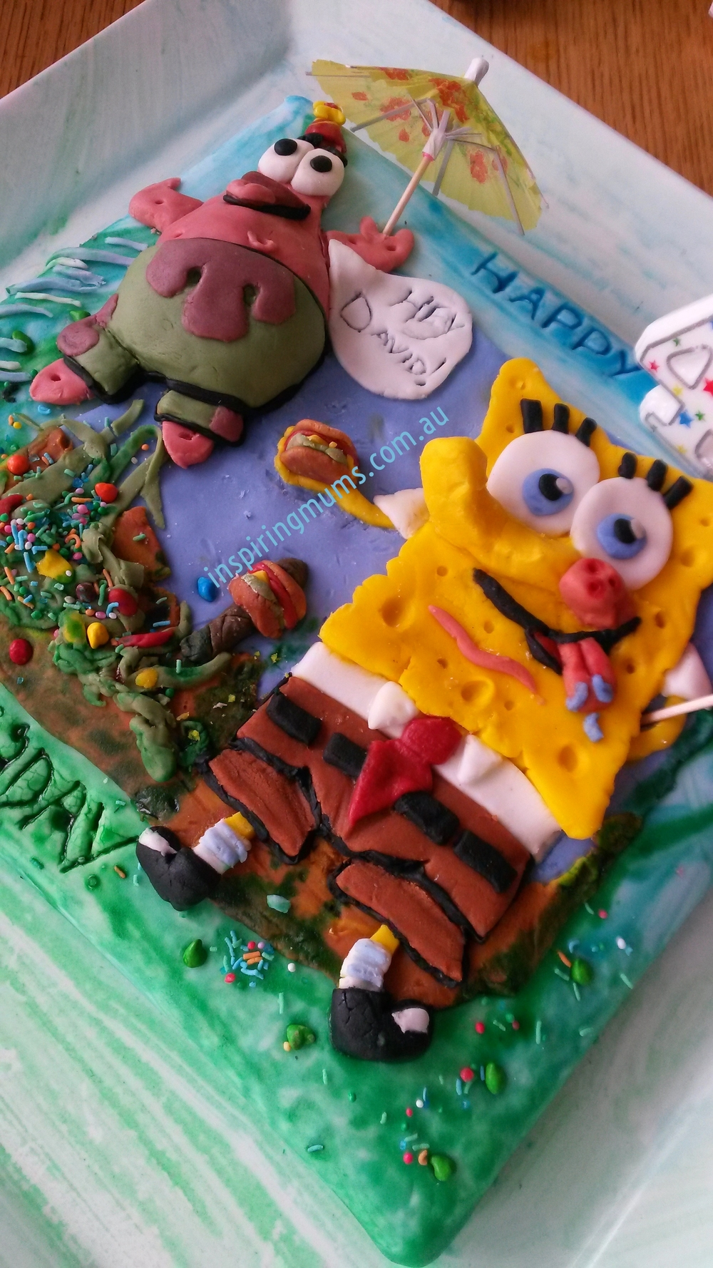 "Spongebob SquarePants Birthday Cake for a 4 Year old boy - design and made by yours truly! Inspiring Mums® ""Nailed it!"""