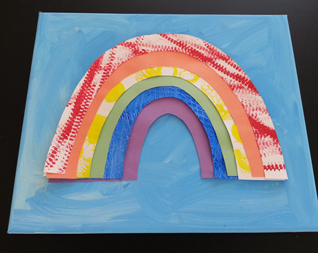 Rainbow texture on canvas - preschoolers