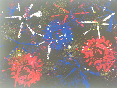 Toddler fireworks printmaking